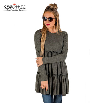 Hot Sale Solid Color Long Sleeve Women's Tunic Tops