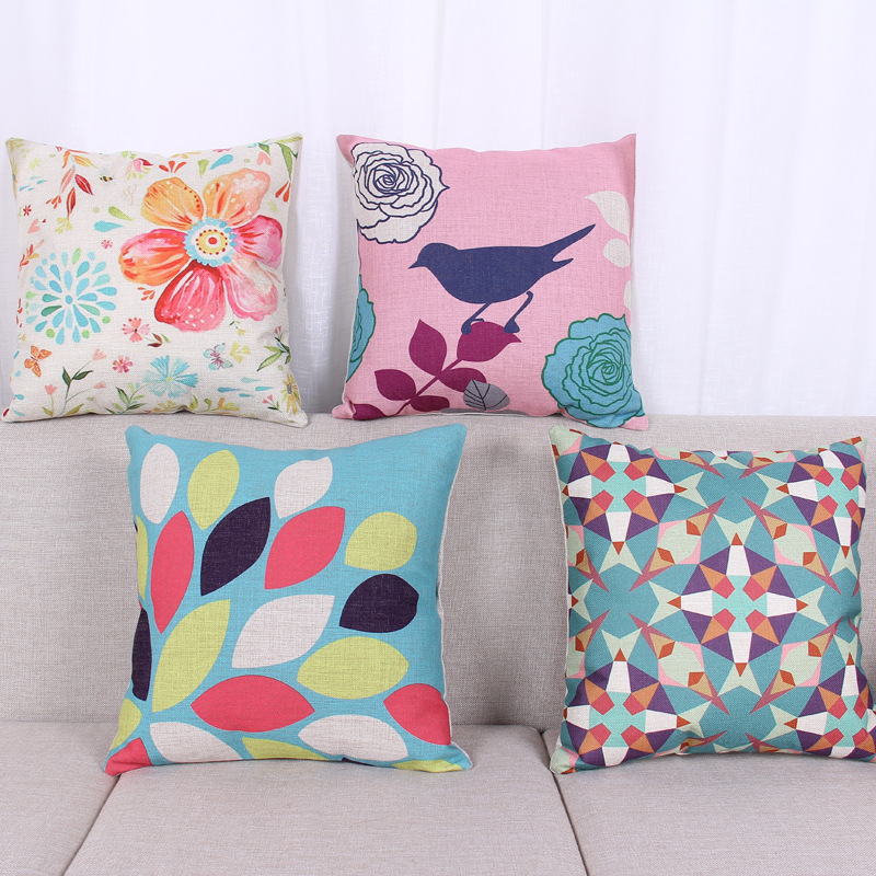45cm Rural Floral Pattern Fashion Cotton Linen Back Cushion Hot Sale 18 Inch New Home Sitting Room Decor Coffee Sofa Pillow HL