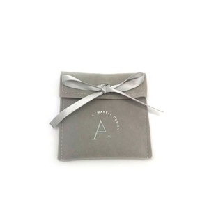 Custom silver logo printed suede envelope jewelry pouch with ribbon