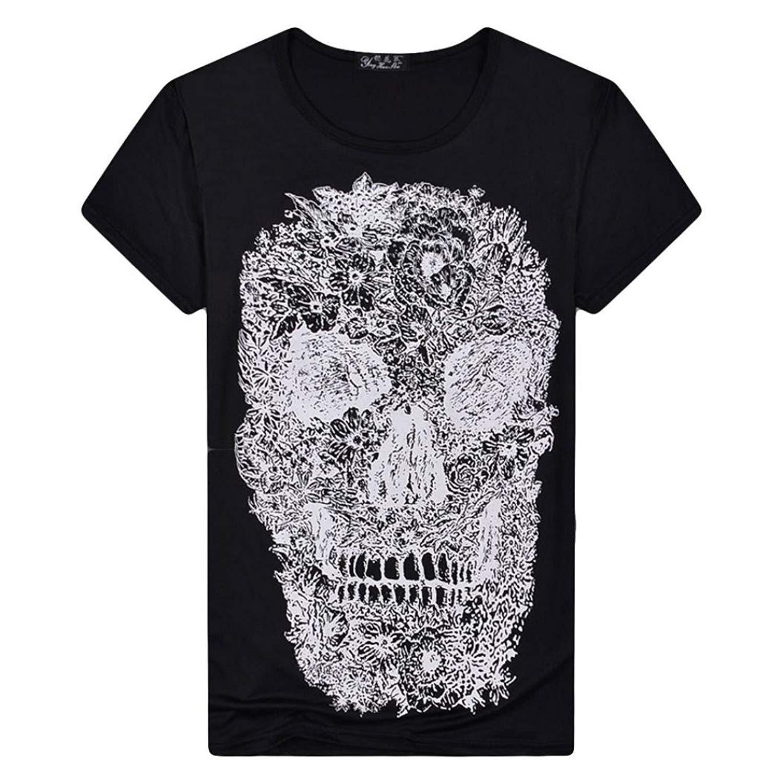 Caopixx T-Shirts for Men 2018 Summer Skull Printing Tees Shirt Short Sleeve Casual Sport Vest Blouse Tops