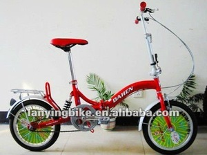 2014 New Design Red frame and green spoke Folding bike with rear shock