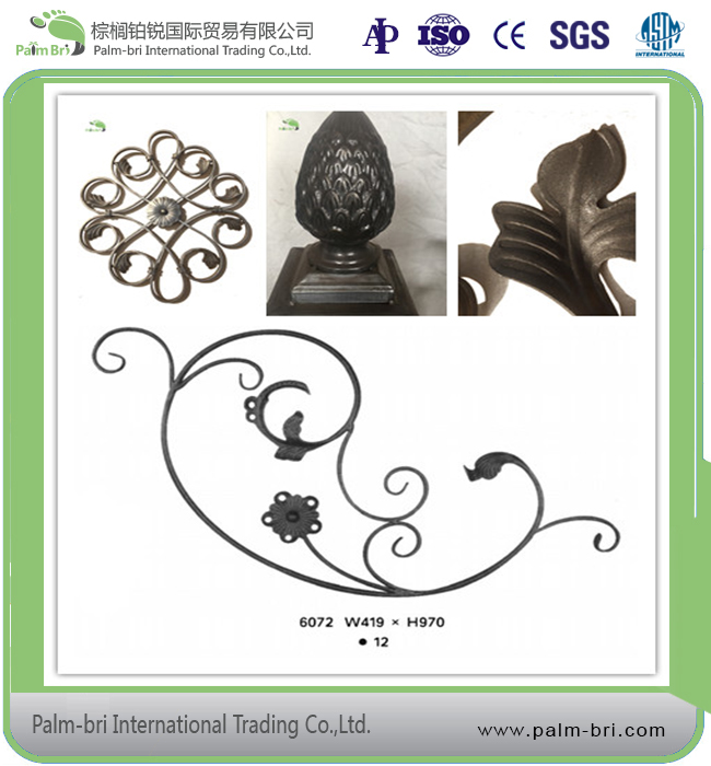 customized wrought iron piles and rosettes for fencing gates and stairs in good prices wholesale on alibaba