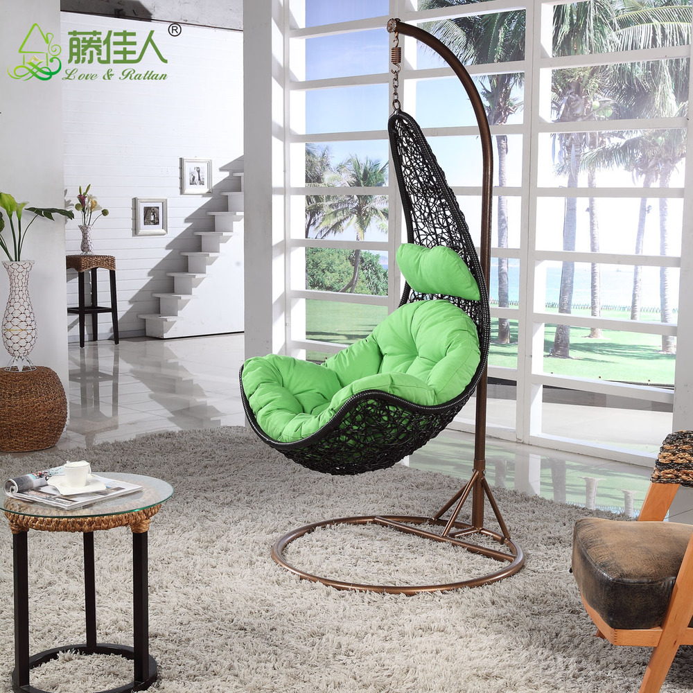 Outdoor patio balcony backyard plastic synthetic rattan for Bedroom hammock chair