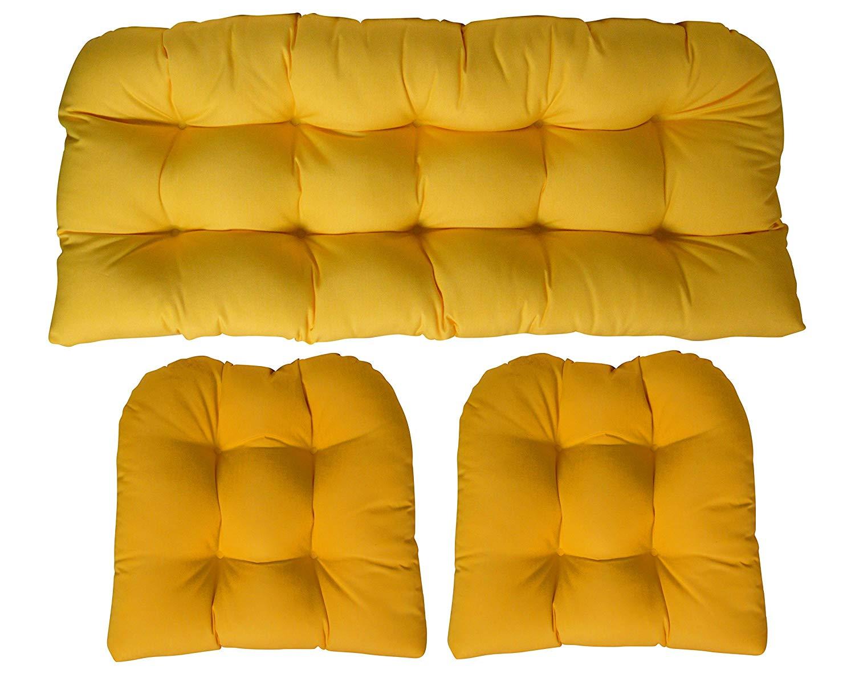 3 Piece Wicker Cushion Set - Indoor / Outdoor Wicker Loveseat Settee & 2 Matching Chair Cushions - Sunbrella Canvas Sunflower Bright Yellow (1135)