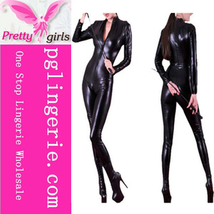 Black Zipper Open Croth Pant Jumpsuit Zipped Leather Jumpsuit Cheap Latex Catsuit
