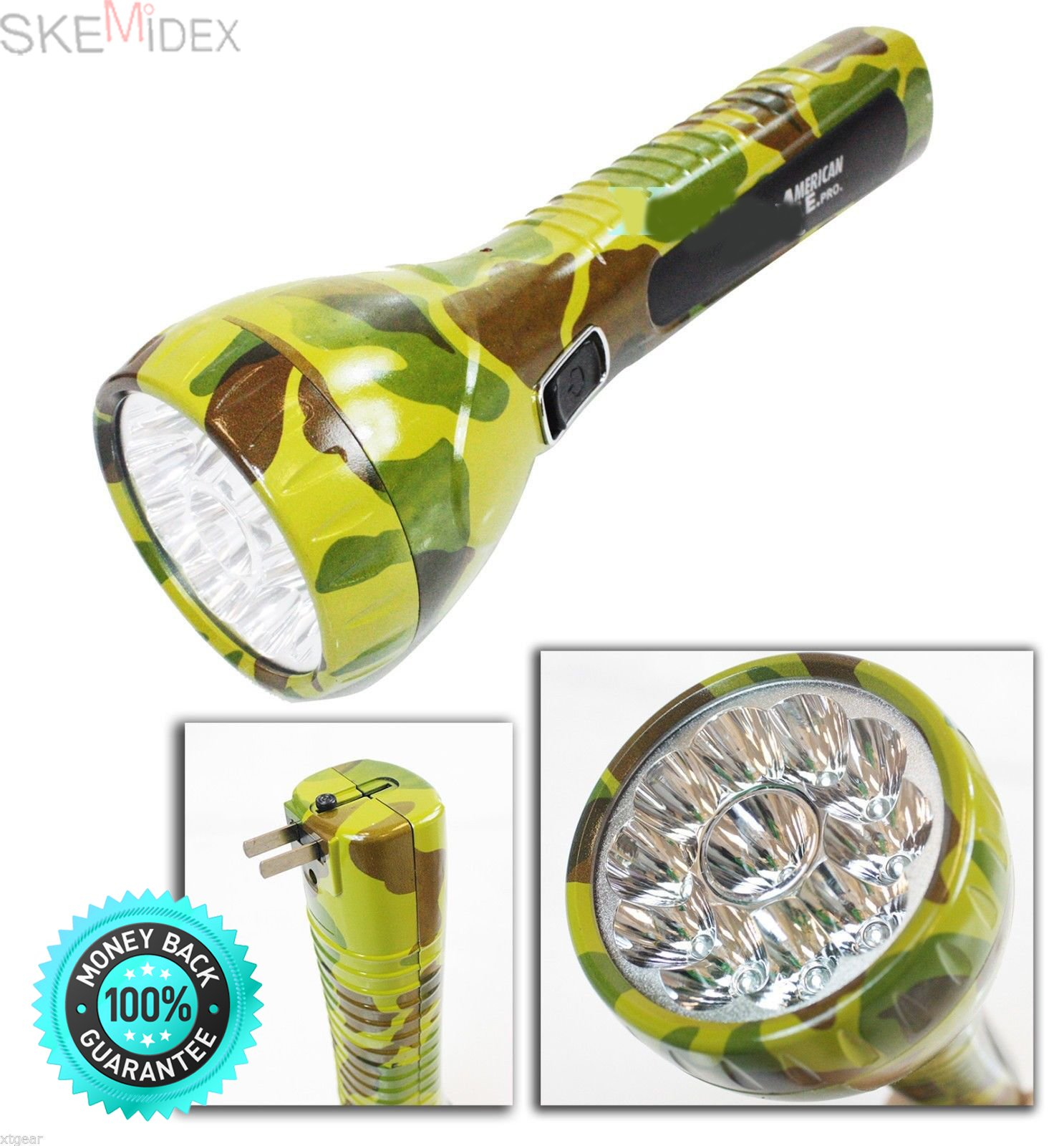 SKEMiDEX---Rechargeable 11 LED Camouflage Spot Emergency Work Light Flashlight Home OutDoor. Lot Two 11 LED Camouflage Rechargeable Spot Work Light Flashlight Emergency Home