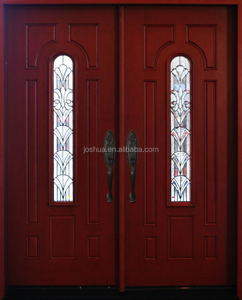 Stainless Steel Security Door Residential Double Entry Doors With Half Moon Glass Insert Exterior On