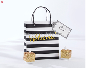 wholesale Classic Black And White Striped Welcome shopping Bags paper bags