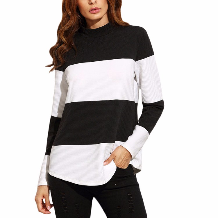 Women Tops Pullover Sweatshirt Ladies Contrast Wide Striped Mock Neck Sweatshirt