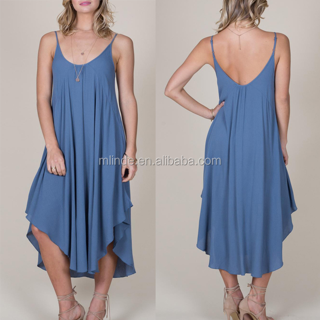 China Manufacturer Suppliers Factory Agent Bulk Clothing Spaghetti Strap Scoop Neckline Sexy Fashion Blue Summer Maxi Dress