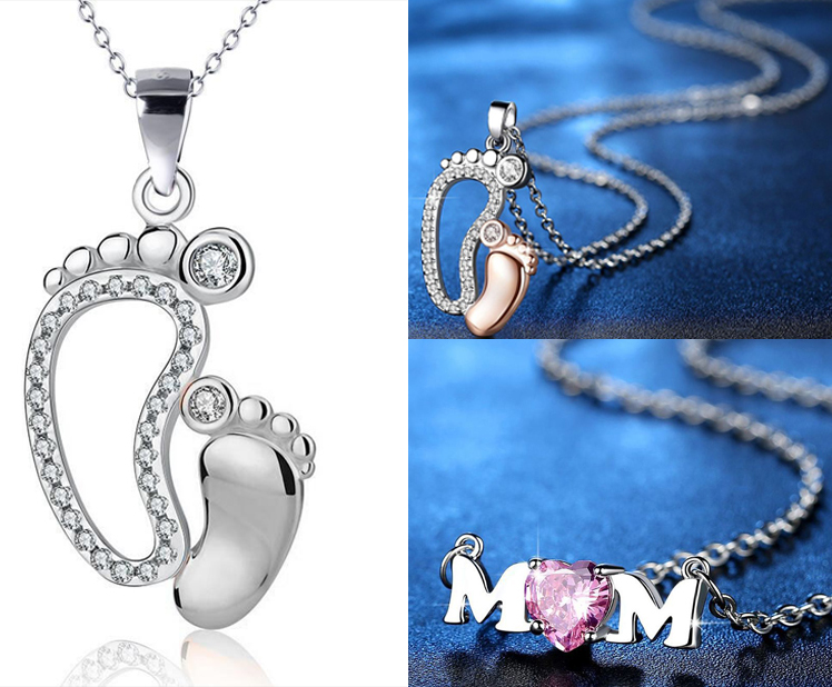 Women Jewelry Crystal Silver Custom Mother Daughter Gold Love Pearl Heart Pendant Mother's Day Gift Baby Mom Necklace
