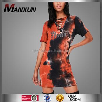 Wholesale Short Sleeve Cheap T Shirt Dresses Tie Dry Lace Up Slogan