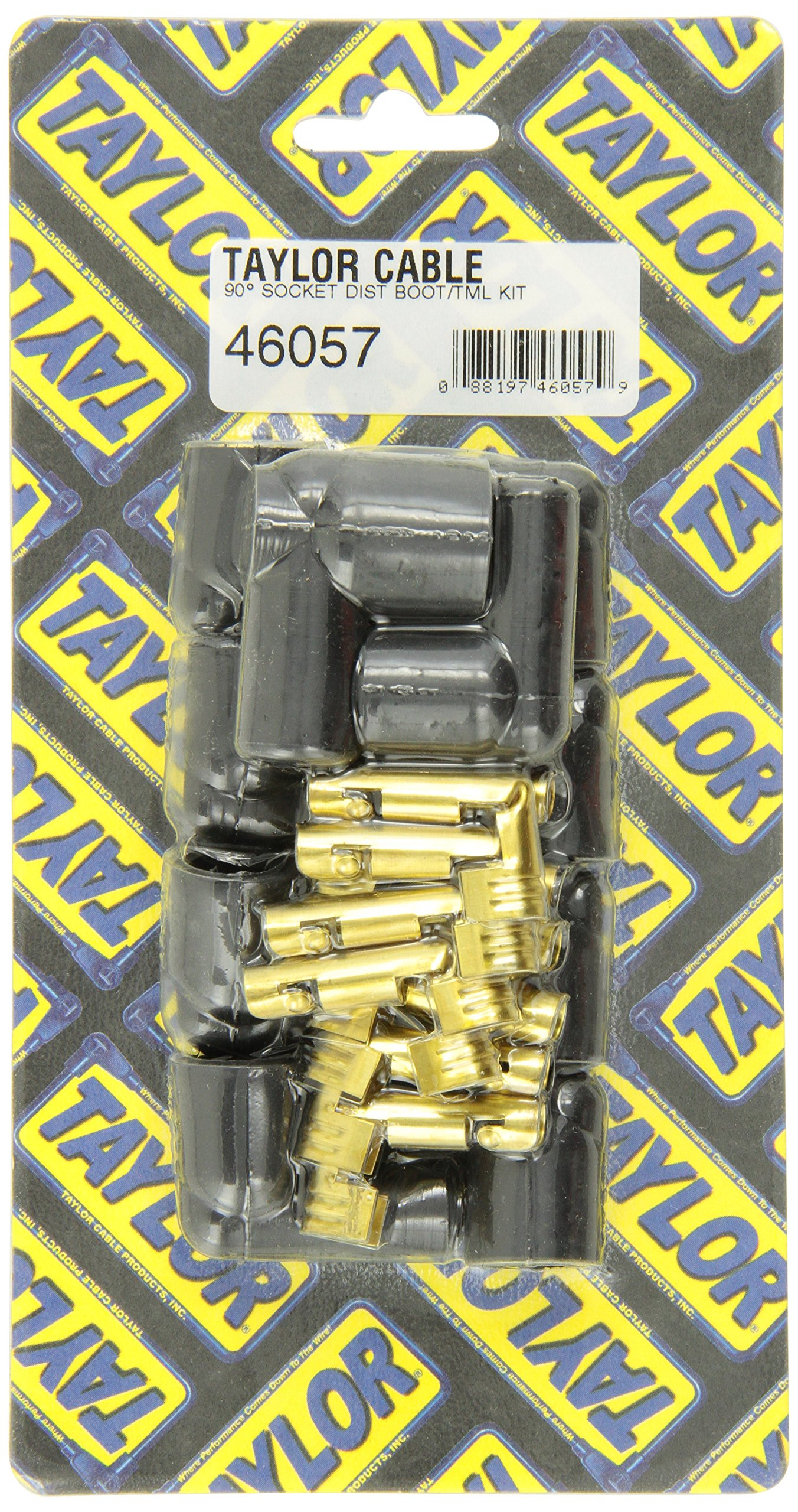 Taylor Cable 46057 Socket Style 90-Degree Distributor and Coil Spark Plug Boot and Terminal Kit - Pack of 10