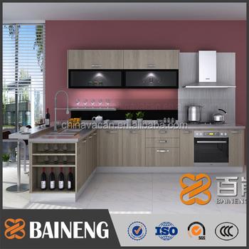 Prefab Lemari Dapur Desain Modern Dengan Berwarna Kaca Pintu Kabinet