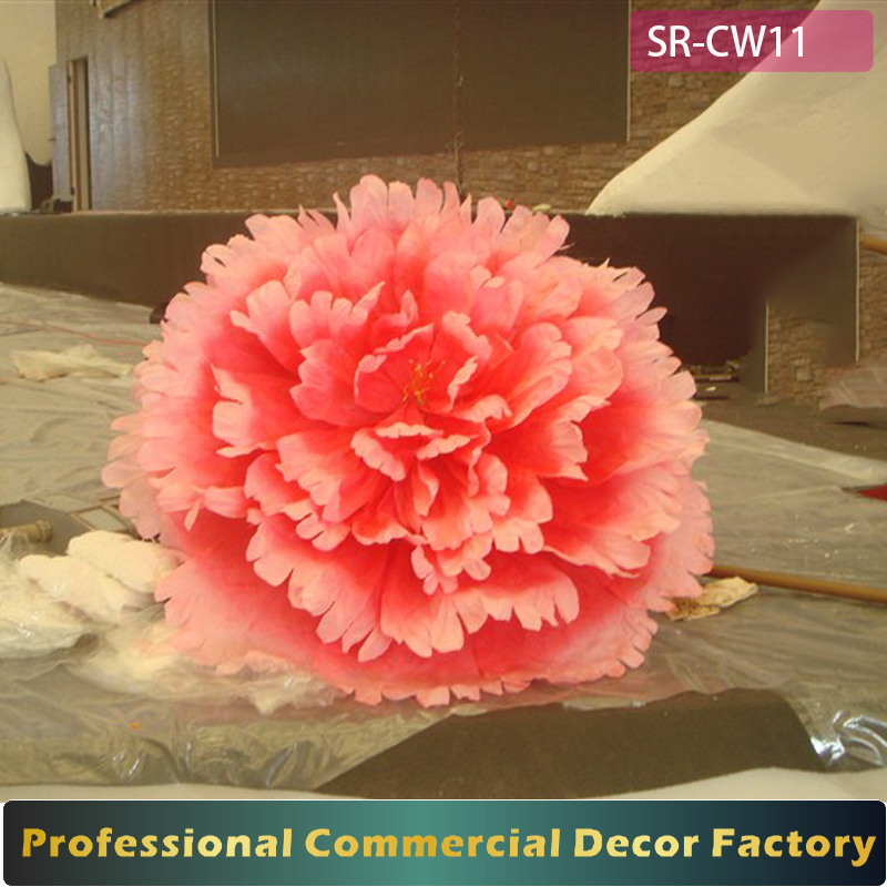 Customize giant red artificial flower decoration for wedding