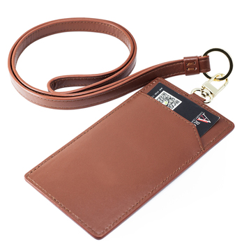 High quality with neck strap printing logo for school/promotion/company leather card holder brown genuine leather id card holder