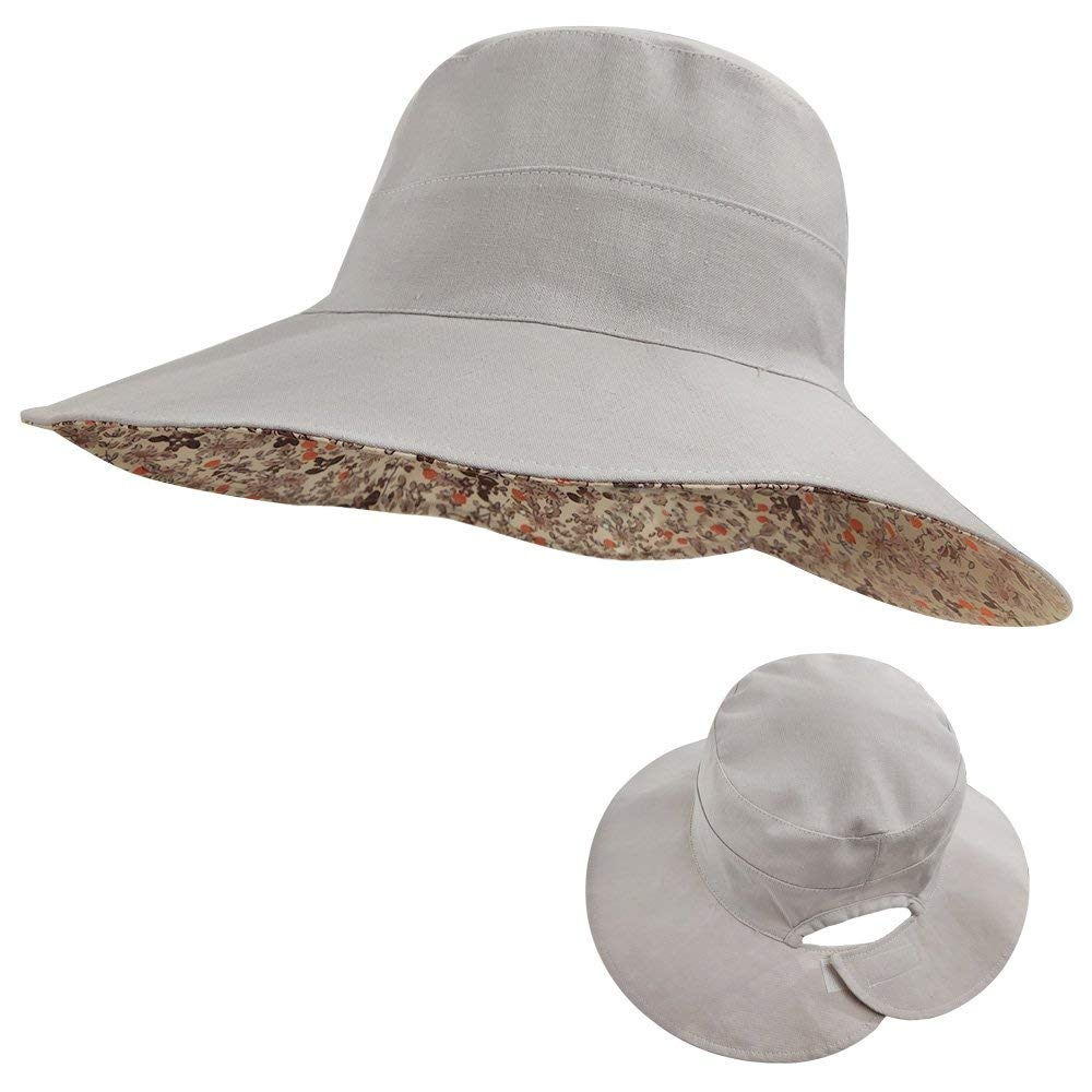 LETHMIK Womens Reversible Bucket Hat,Wide Brim Beach Sun Hat Packable Rear Open