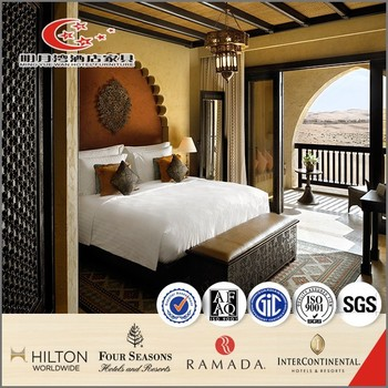 Wood King Size Bed Set Design For Star Hotel, Wooden Headboard/ Two Bedside  Tables Part 85