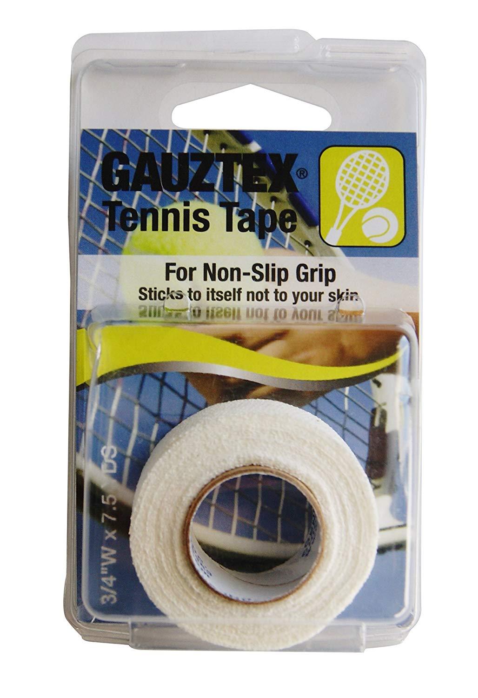 "Gauztex Athletic Tape – Tennis – ¾"" Self-Adhesive Breathable Gauze – Flexible, Sweatproof Non-Slip Grip (7 ½ yd roll) (White, ¾"" x 7 ½ yds)"