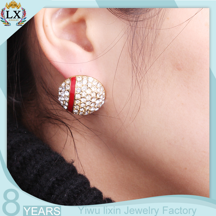 Elx 00234 Fancy Stud Earrings Women Rhinestone Diamond Gold Round New Model Earring