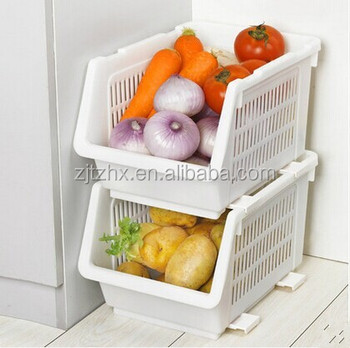 Japanese Plastic Kitchen Storage Basket Rack Vegetable Fruit Basket Stacking  And Storage Bins With Wheels