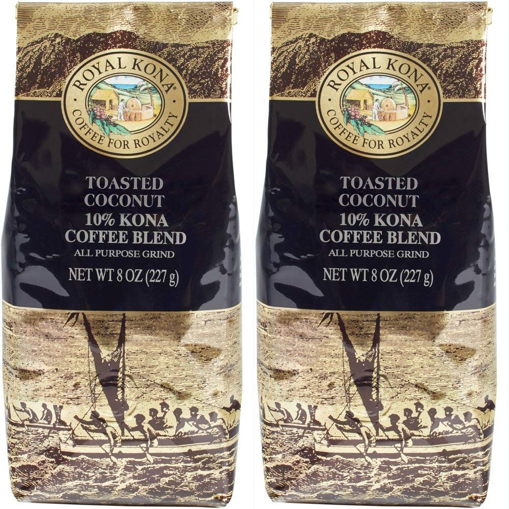 Hawaii Royal Kona Toasted Coconut 10% Kona Coffee Blend Ground Two 8 Oz. Bags (2 Pack)
