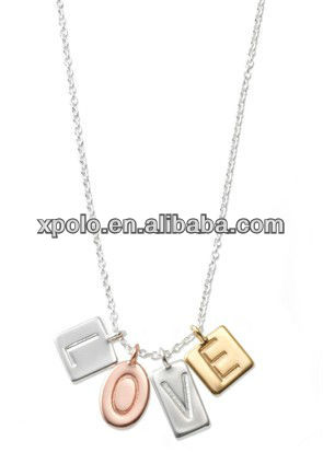 "Newest Fashion metal ""Love ""and ""Hope "" pendant necklace"