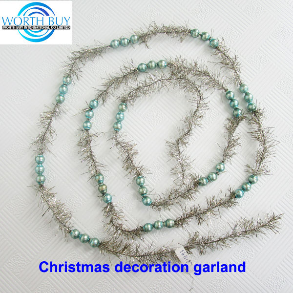 Golden beads & tinsel decorated christmas ornament ball garland