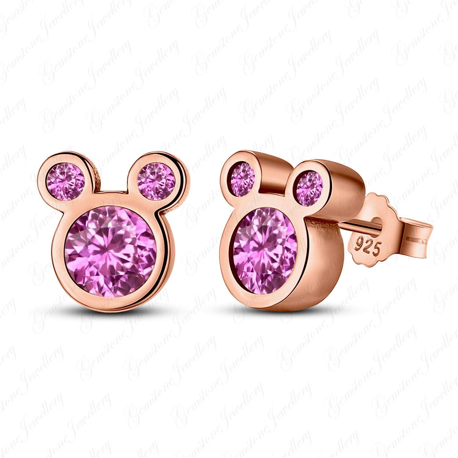 Get Quotations Gemstone Jewellery Cly Look Mickey Mouse Earrings With Round Pink Shire 14k Rose Gold Finishing
