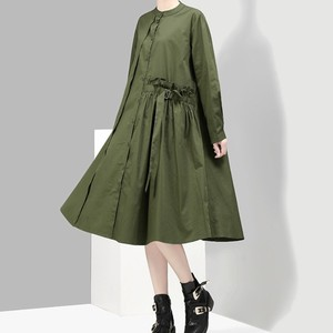 YSMARKET Army Green Black Women Long Sleeve Loose Dress Korean Style Street Fashion Clothing Casual Shirt Dresses E2915