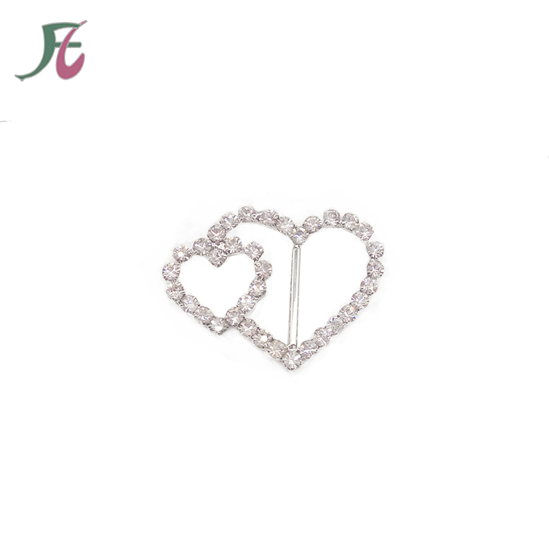 Alibaba Double Heart Rhinestone Diamante Slider Rhinestone <strong>Buckle</strong> for Wedding Invitation Ribbon