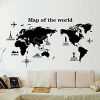 Large World Map Wall Decal Stickers,Big and Precise Wall Decoration for Office or Sitting Room