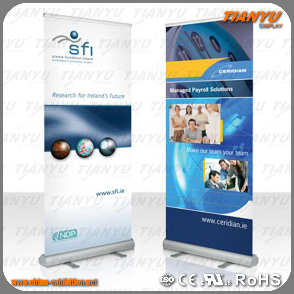 fabric roll up banner display stand