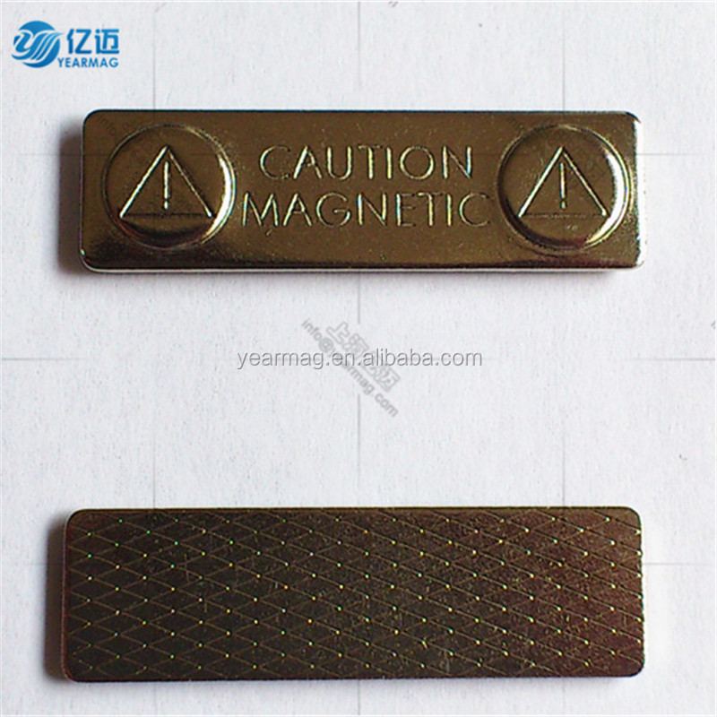 High quality nickel two magnets coated badge clip magnetic name badges with strong neodymium magnetic force