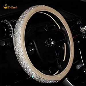 Summer Cool Crystal Steering Wheel Cover,with PU Leather
