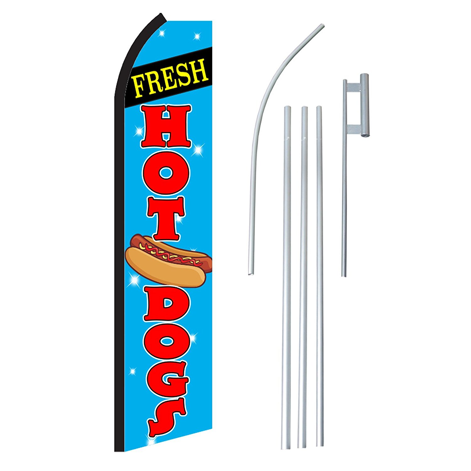"""NEOPlex - """"Fresh Hot Dogs"""" Complete Flag Kit - Includes 12' Swooper Feather Business Flag With 15-foot Anodized Aluminum Flagpole AND Ground Spike"""