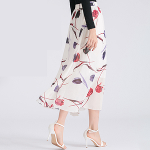 OEM Service Fashion Lady Printed Tulle Long Maxi Skirts for Women