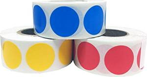 "Color Coding Craft Decoration Round Circle Dot Stickers - Blue Hot Yellow and Red - 1,500 Total 0.75"" Inch Round Adhesive Labels"