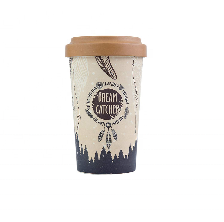 Landlove company offer biodegradable economic price high-ranking bamboo fiber coffee cup with lids