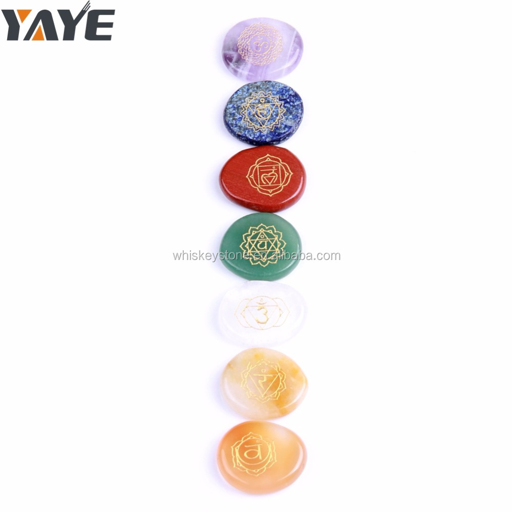 Bulk Wholesale Natural Semi-precious stones Engraved 7 Chakra Set For Healing