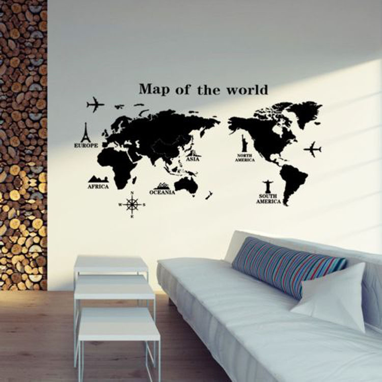 PVC autocollants amovible décoration de la maison carte du monde t Mur Autocollant 3d wall sticker