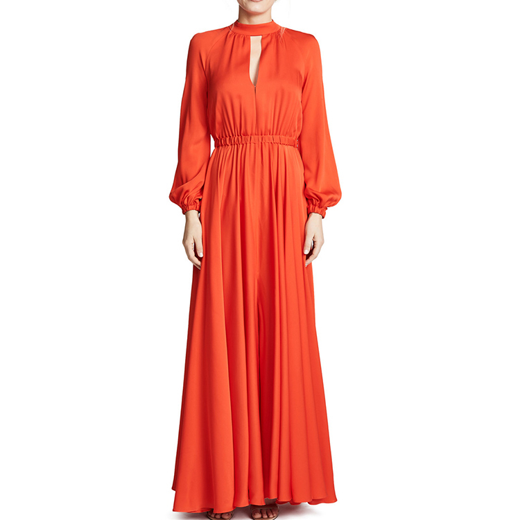 Custom Ladies <strong>Dress</strong> Cutout Waist Side Split Halter belted Lantern Sleeve Long Sleeve maxi Women <strong>Red</strong> <strong>Dress</strong>