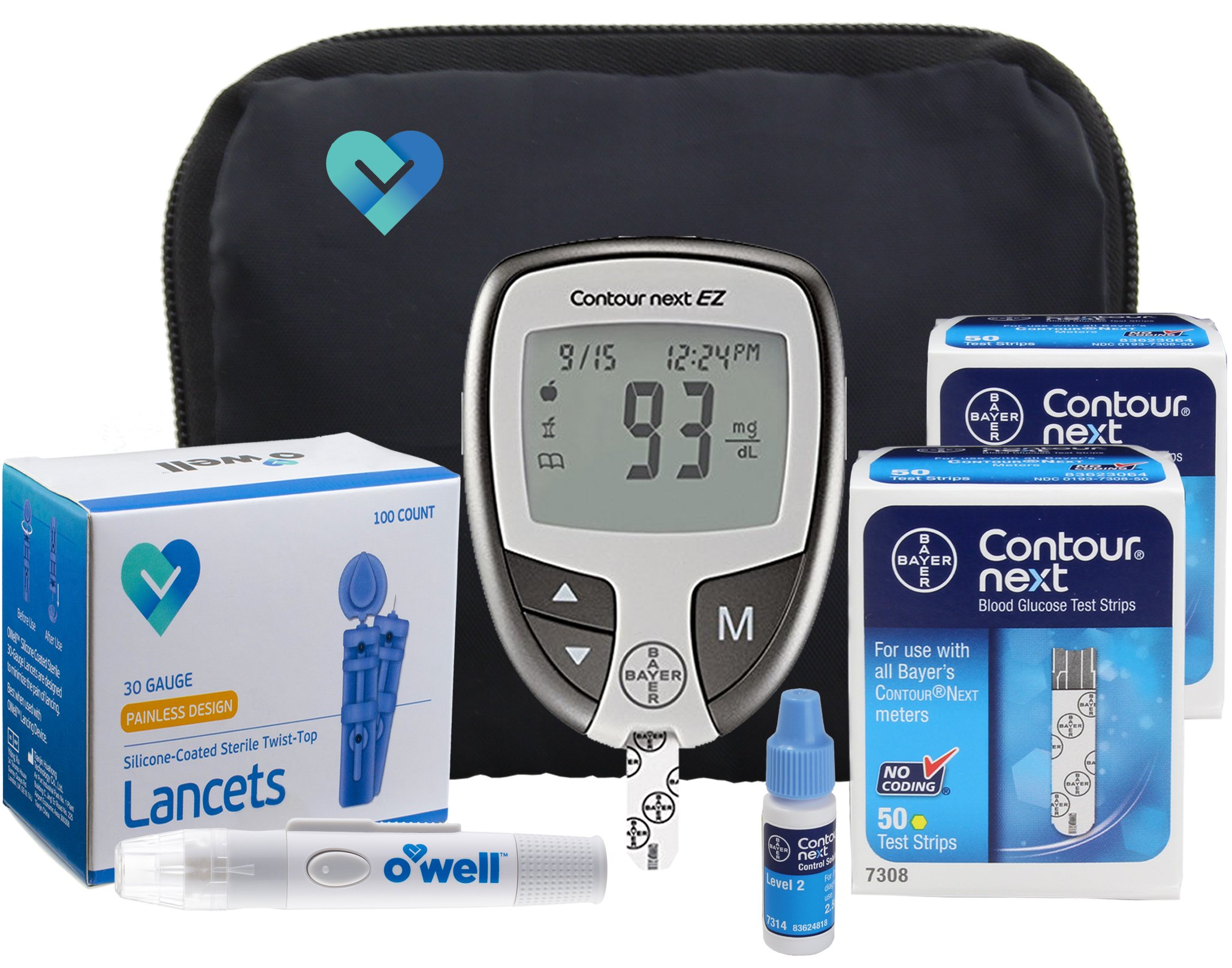 Contour NEXT Blood Sugar Testing Kit, 100 Count | Contour NEXT EZ Meter, 100 Contour NEXT Blood Glucose Test Strips, 100 Lancets, Lancing Device, Control Solution, Manual's, Log Book & Carry Case