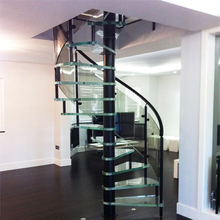 Water supply glass curved stairs spiral stair with ceramic tiles step stairway