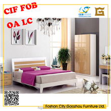 2017 modern melamine and UV double size bed with wooden frame