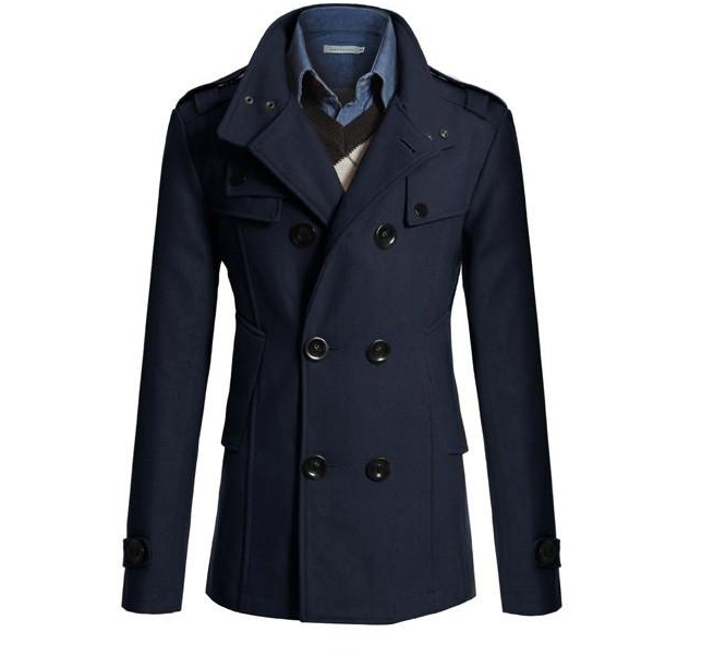 Fashion Winter Peacoat Mens Business Casual Stand Collar Woolen Trench Coat Men Double Breasted Overcoat Jackets