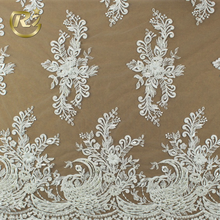 LF-387 Manufacturer Direct Sale Lady White Guipure Bridal Textile Embroidery Beaded African Lace Fabric