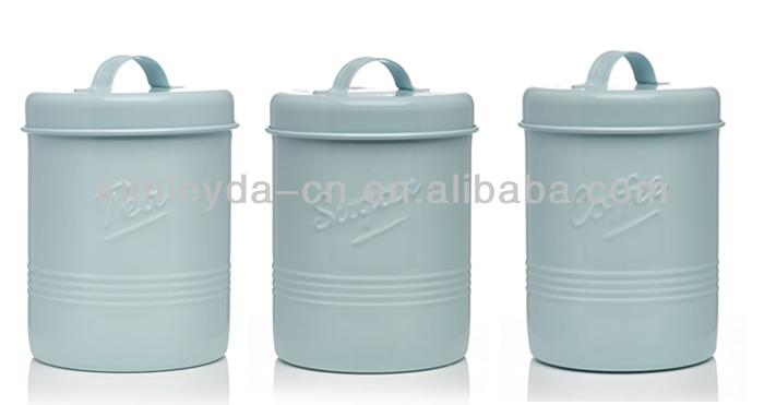 Lot de 3 grandes thé café sucre pots de cuisine en céramique de stockage Pots Bidons Bleu