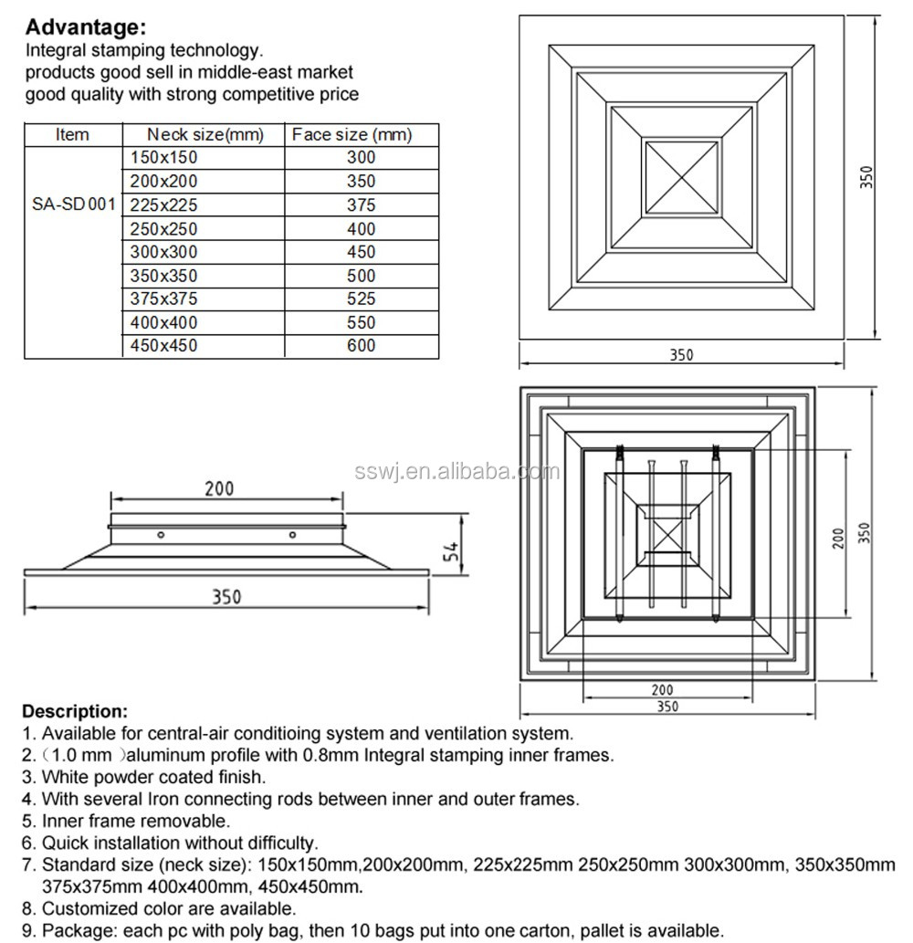 Ceiling Diffusers Installation Details : Square ceiling diffuser aluminum linear slot air