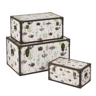 New Design Ample Storage Set of 3 Nesting PU Wooden Trunk